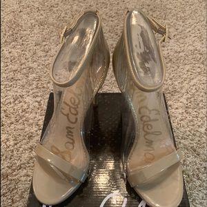 Sam Edelman Ariella Nude Patent Ankle Strap Heel